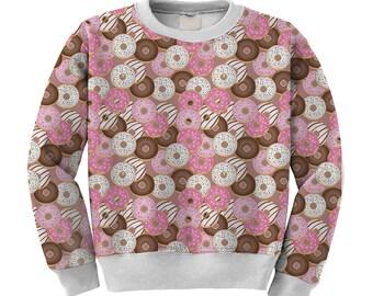 Donut Sweater Donuts Swetshirt Donut Print Jumpter Doughnut Pink Sprinkled Sweater **MTO Month Sz XS-3XL Men, Women, Kids**