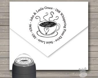 Self inking Address Stamp - Round coffee lover address stamp self inking stamp CLRAS