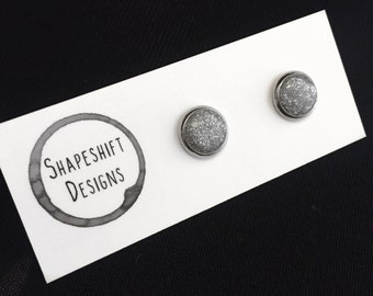 Silver Glitter Polymer Clay Stud Earrings / Bezel Set
