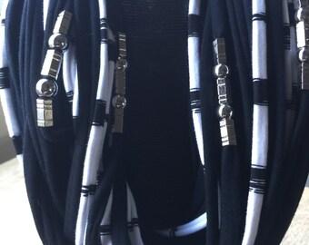 Long black and white Designer spaghetti scarf
