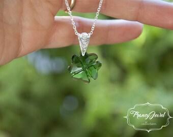 Four leaf clover, green crystal, lucky gift, 925 sterling silver, Swarovski crystal, handmade jewelry, wedding jewelry, birthday gift