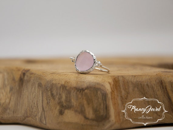 Pink ring, romantic ring, silver ring, pink crystal, unique ring, handmade ring, silver plated, made in Italy, not tarnish jewelry, for her