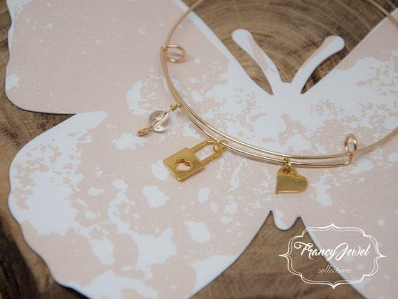 Charm bangle, love, gold adjustable bangle, expandable bangle, Swarovski charms, unique handmade bangle, flexible bangle, made in Italy