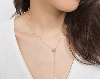 Y Pearl Necklace,Fresh Water Pearl Necklace,14K Gold Filled,Gold Y Necklace