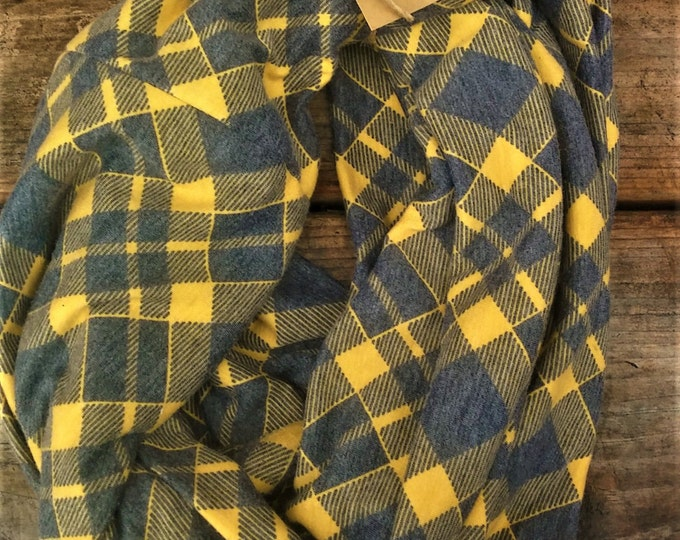 Yellow and Gray Plaid infinity scarf