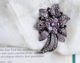 Pink Rhinestone Brooch, Purple Rhinestone Brooch, Statement Brooch, Purple Flower Brooch, Pink Flower Brooch, Vintage Pink Brooch