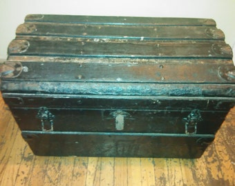 Steamer Trunk/Antique Trunk/Vintage Trunk/Black Trunk/Antique Chest/Vintage Chest/Old Trunk/Old Chest/Trunk Decor/Large Trunk/Storage Chest/