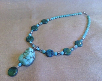 191 Magnesite Turquoise Pendant and Silver Glass Beaded Necklace