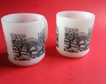 Vintage Glasbake Milk Glass Mugs , Glasbake Country Scene Mugs