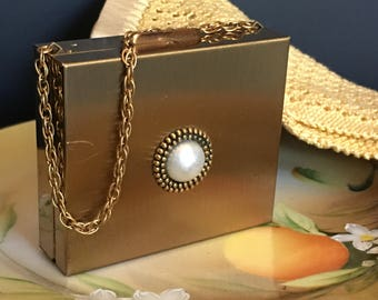 Gold Compact Pearl Lipstick Holder Mirror Vintage 1940's Evening Bag Repurpose Repair Wedding