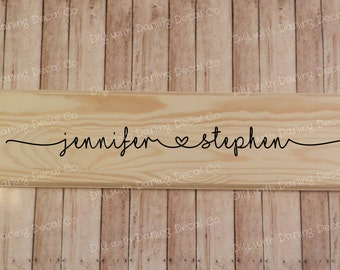 Couples Heart Name Adhesive Decal DIY Sign Marriage Gift Wedding First Names Do it Yourself Wall Art Decor Bridal Shower Love His and Hers