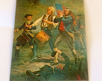 Bicentennial Postcard, Spirit of '76, peel and stick, vintage