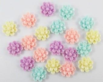 20pcs DIY Resin Dahlia Flower Cabochon Flat Back 20mm Cards Hair Clips (CE038)