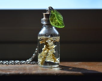 Small Flowers in Resin Glass Bottle Necklace