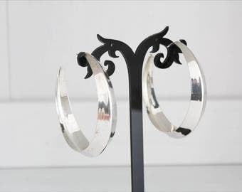 Hoop earrings, silver metal, Italy anni ' 80