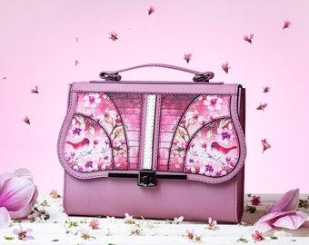 Coloured Symphony - Magnolia Crossbody Bag   Handmade, Eco Leather Bag, Leather, Birds Print, Green, Olive Green, Flowers