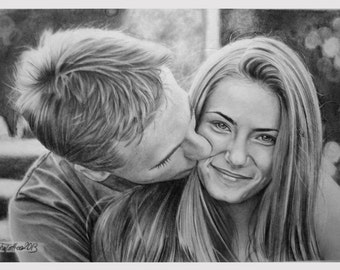 Custom Couple Portrait, Custom Portrait, Couple Portrait, Pencil Portrait, Graphite Portrait, Love Portrait, Personalize Portrait, Portrait