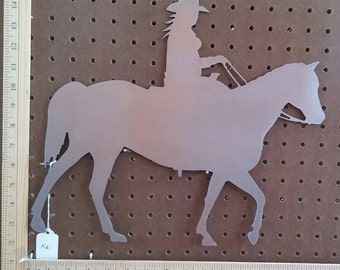 "Metal CNC 16"" Cowgirl on Horse"