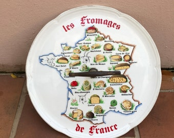 FRENCH BISTRO CHEESE plate moulin des loups porcelaine france regions