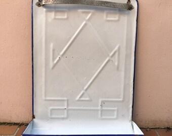 Vintage Enamelware, large white Enamel Utensil enameled 25021714