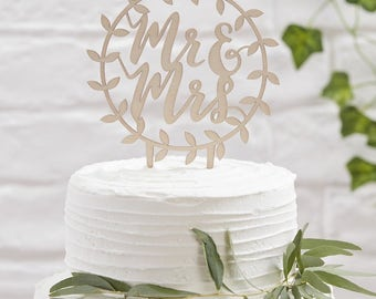 Wooden Mr & Mrs Cake Topper | Wedding Cake Toppers | Wooden Cake Topper