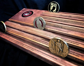 USMC Coin Rack - Marine's Military Challenge Coin Display Holder - customizable - personalized
