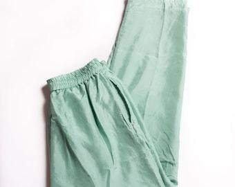Vintage 80s Women's Sage Green Wind Pants Nylon Joggers Light Green Workout Pants
