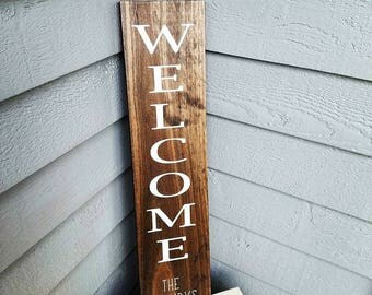 Handpainted Welcome sign l Family Name Sign l Home Decor l Porch Decor l Wall Decor l Wedding Gift l Housewarming