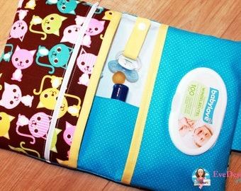 Nappy Wallet (blue, colorful cats)