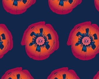 POPPY POP FABRIC | Navy & Orange | 1 Yard Custom Cotton Fabric | A Portion of the Proceeds go to Charity