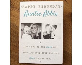 Auntie Birthday Card  / Photo Card / Photograph Birthday Card / Personalised card / Card with Quote / Love you to the moon and back