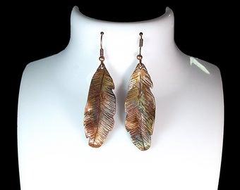 Copper feather earrings, Forged copper earring, Artisan Copper earrings, handmade copper earring, copper earrings, Health benefits of copper