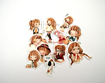 Cute Kawaii Girl Sticker Flakes