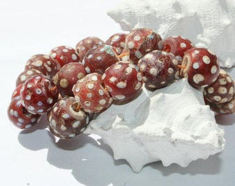 Old Venetian Murano glass of beads, eye beads, 11 mm
