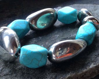 Chunky turquoise and silver bracelet