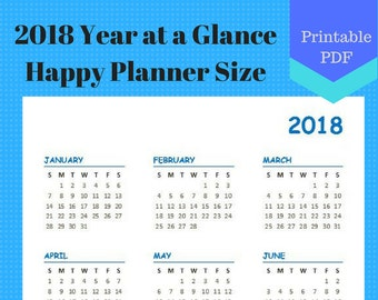 2018 Year at a Glance, Year on one page, Calendar Pages, Planner, Discbound, Classic Happy Planner, Create 365, 7 x 9.25