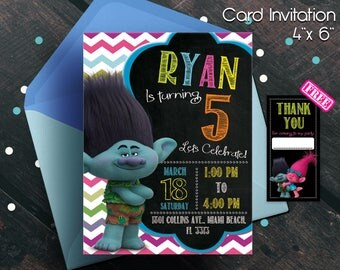 Trolls Birthday Invitation, Trolls invitation, Trolls Digital Invitation, Trolls Party, Trolls poppy, Trolls, Trolls invitations, boys party