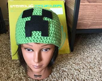 Minecraft Creeper Crochet Hat -- Handmade