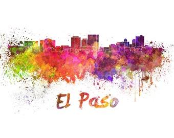 El Paso skyline watercolor canvas,  El Paso Canvas, El Paso wall art, El Paso Canvas Wall Art, El Paso wall art canvas, El Paso Texas