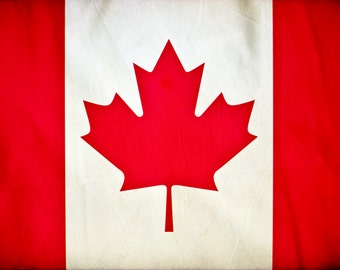 Vintage Canada Flag on Canvas, Canada Wall Art,  Canada Photo flag on canvas, Single or Multiple Panels Canadian flag Toronto Montreal