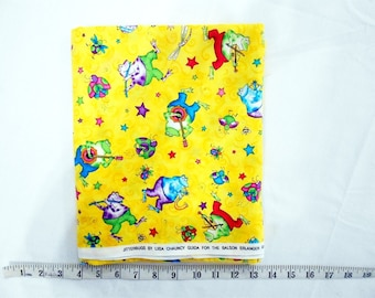 Fabric -2yd piece -JITTERBUGS by Llisa Chauncy Guilda -Frog Musicians, Stars, Bugs on bright yellow background (#yd016)