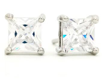 Princess Silver Earrings, Princess Crystal Earrings, Clear Square Earring, 925 Silver, Princess Earrings, Clear Earring, Clear Square Gems