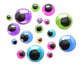 Metallic Paste-On Googly Eyes - Assorted Colors & Sizes - 58 pieces