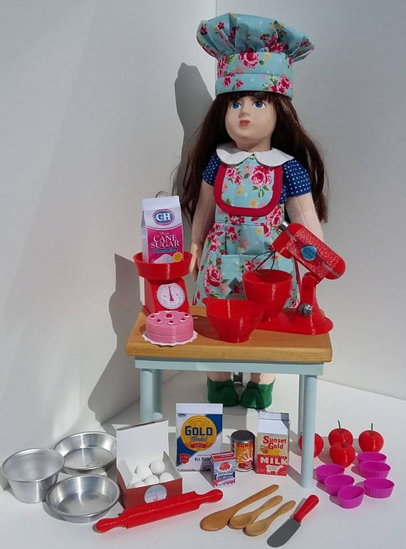 Bakery set for 18 inch dolls, 3D printed in PLA and other materials