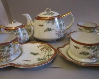 Vintage Japanese Hand Decorated Satsuma Tea Set Tea Pot, Jug Creamer & Sugar Bowl