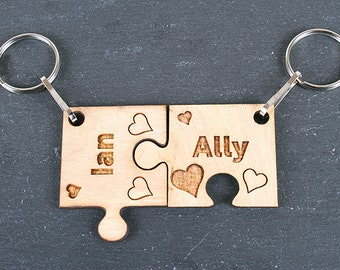 Personalised Valentines Love Jigsaw Keyring set - you are my missing piece