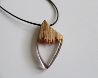 pendant / necklace wooden and transparent resin