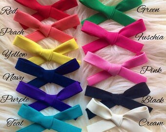 Hand Tied Cotton Blend Bow Headband or Hair Clip