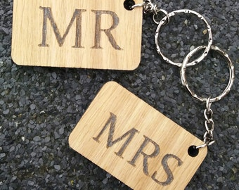 Mr & Mrs Oak Keyrings