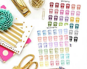 Glitter coffee cups, watercolor coffee cups, coffee cup stickers, coffee stickers, coffee planner stickers, planner stickers